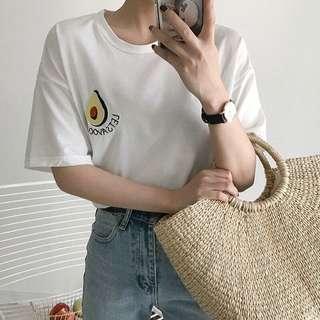 White Cartoon Avocado Oversized T-Shirt