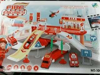 低價便宜出清消防車道消防車模型套益智組合玩具套組
