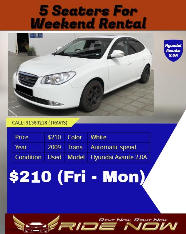 210 hyundai avante 2 0a weekend car rental promotion cars vehicle rh sg carousell com