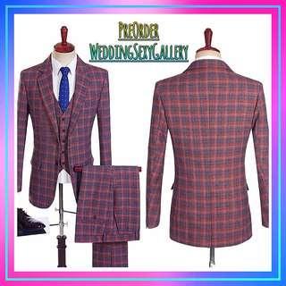 🚚 #[24]🌹⏺🅿🅾⏺🌹England Style Men Tuxedos Plaid Casual Groom