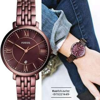 FOSSIL JACQUELINE Three-hand Date Wine Stainless Steel Watch #BlackFriday100