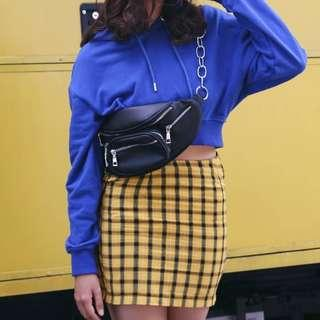PU Leather Fanny Pack w/ Chain Detail