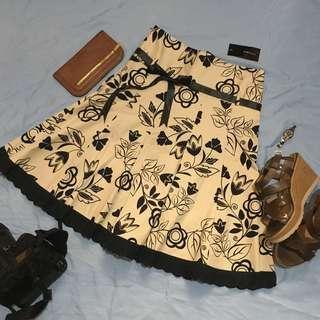 Monlez Elegant/ Classy/ Formal Beige Floral Skirt