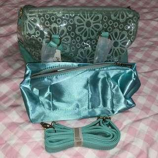 CLEAR TURQUOISE BAG + MAKEUP BAG