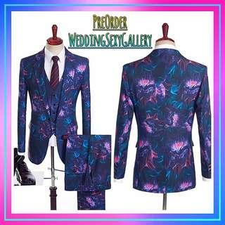 🚚 #[25]🌹⏺🅿🅾⏺🌹European Fashion Printing Wedding Tuxedos