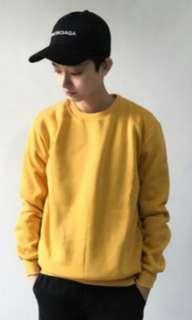 🚚 芥末黃色長袖刷毛大學T衛衣冬天必備