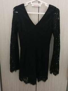 Black Lace Short Jumpsuits