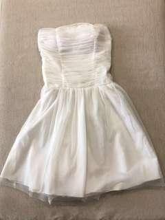 Off White Mesh Tube Dress