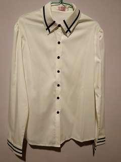 [NEW] White Button Down Chiffon Blouse