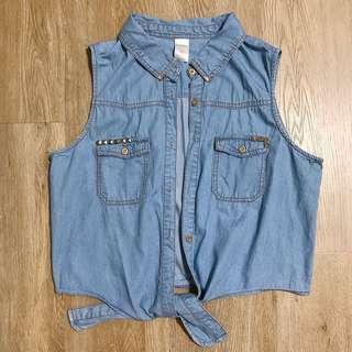 denim crop vest