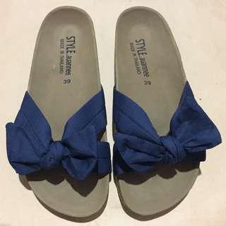Dark Blue Bow Sandal