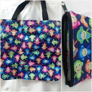 practical shoulder tote shopping bag 超實用拉鍊可上膊防水挺身購物袋 連收納拉鍊袋套裝