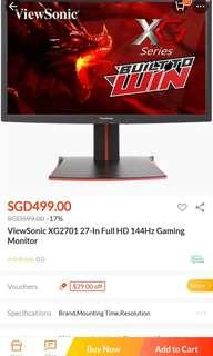 ViewSonic 27 inch Monitor XG2701 Full HD 144hz Black Friday