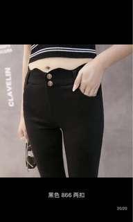全新 波浪褲頭顯瘦緊身黑褲