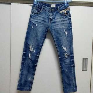 🚚 NET低腰刷破牛仔褲 尺碼34/155/66A
