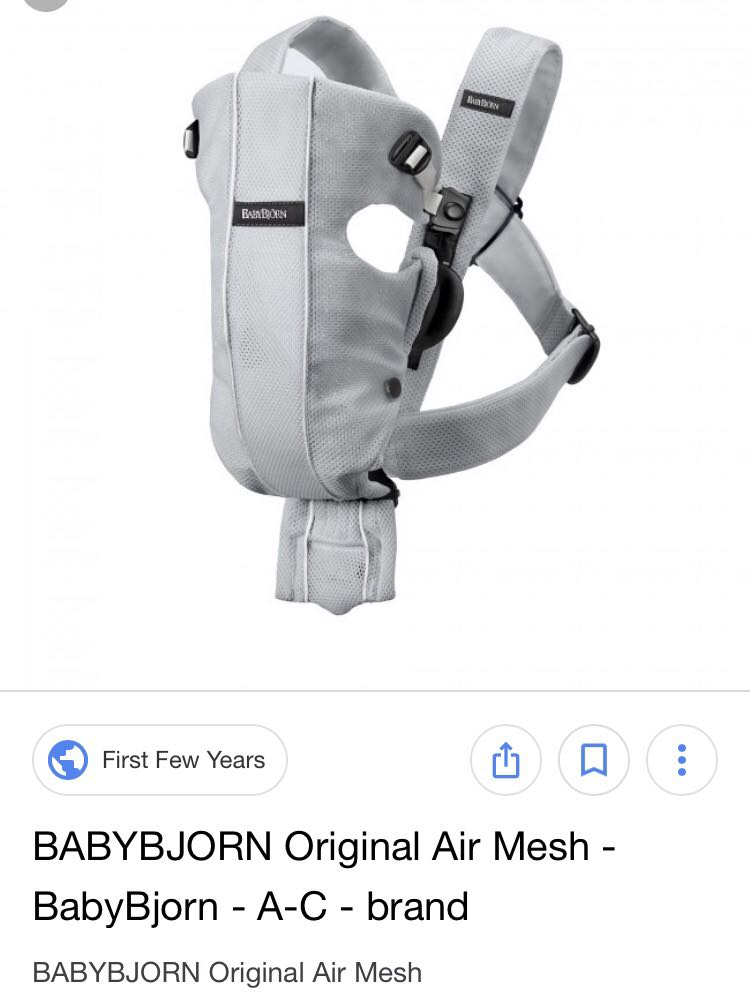 ab96edb35c1 Baby Bjorn Original Air Mesh - Grey