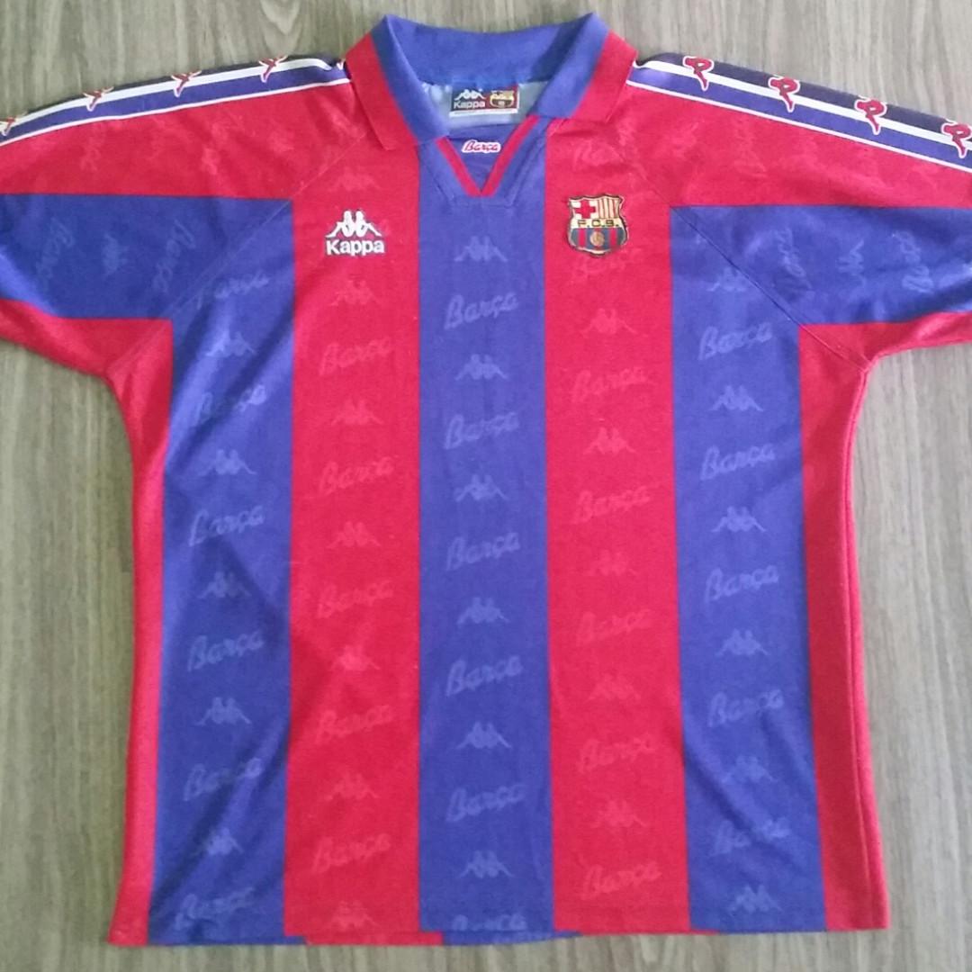 f34ccff4ce3c42 Barcelona Kappa 1996-97 Home Jersey XXL 2XL Vintage Retro, Sports, Sports  Apparel on Carousell