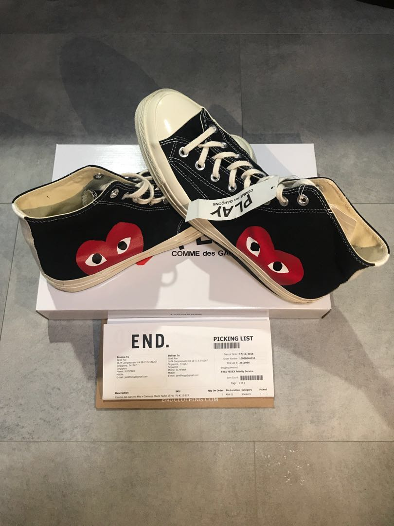 8f33e1350294 CDG x Converse Black High Cut UK 10