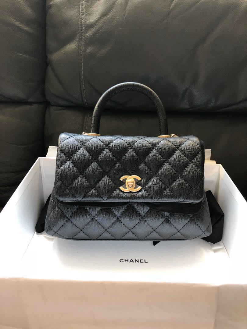 764e6498a81c Chanel coco lizard handle mini black Caviar GHW