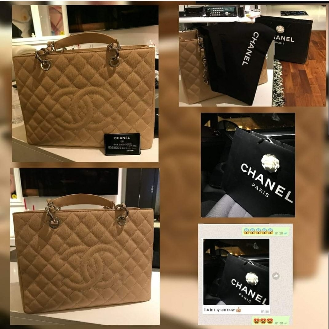 87bffe36b0f730 Pre owned Authentic Chanel Handbag GST in Beige Silver Hardware ...