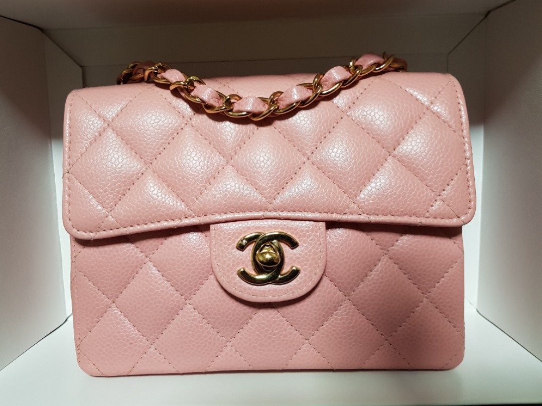 01883a5fcd1f 100% AUTH] Chanel pink square mini flap bag Caviar with GHW, Luxury ...