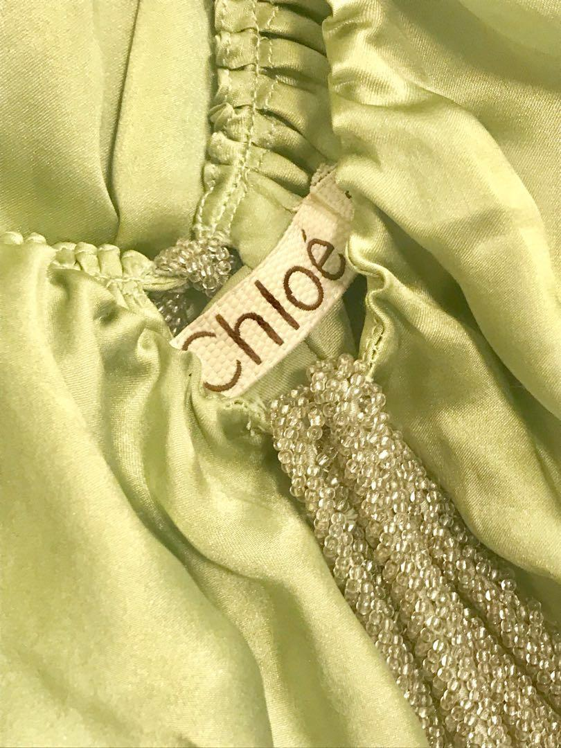 Chloe Green Silk Runway Dress Authentic With Beaded Stones 100% Silk Size EU 32 : US 0