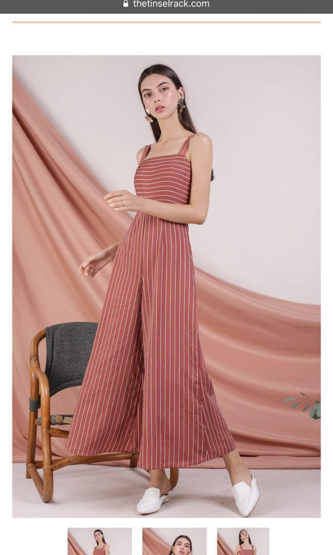09aacf44b722 Donna Wide Leg Jumpsuit (terracotta stripes)