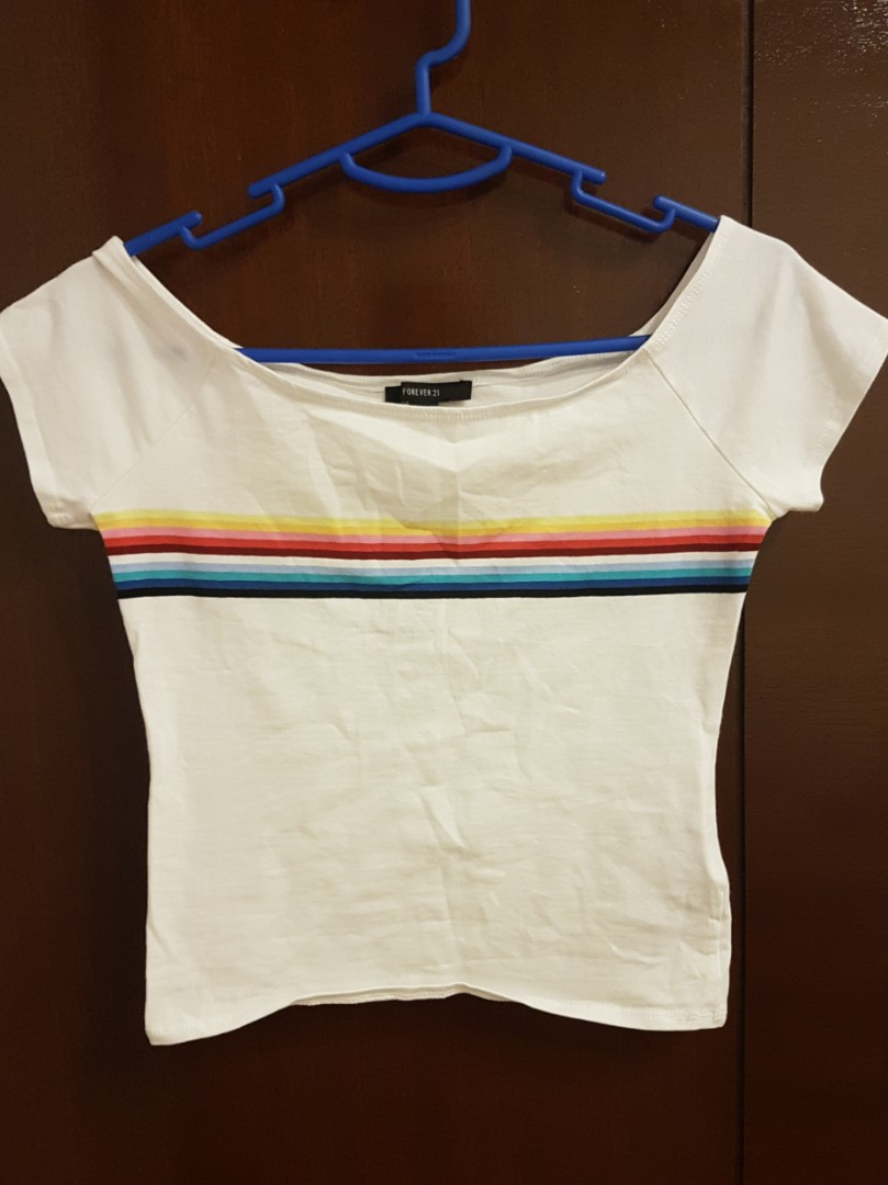 ccc66593adada1 Forever 21 Rainbow Striped Off the Shoulder Top