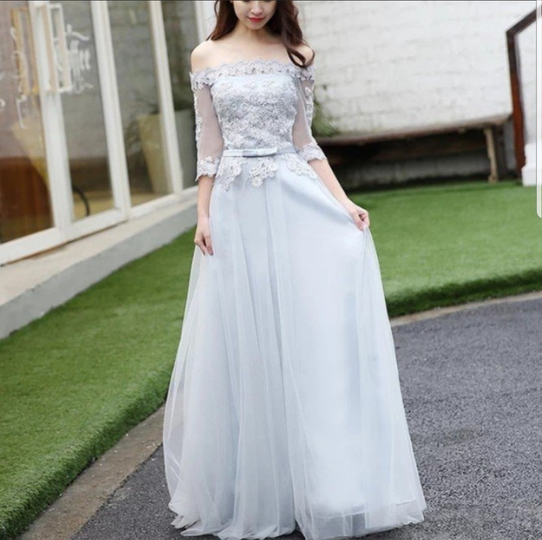 ed8ca8796834 Grey off shoulder lace dress   evening gown   Wedding Dress