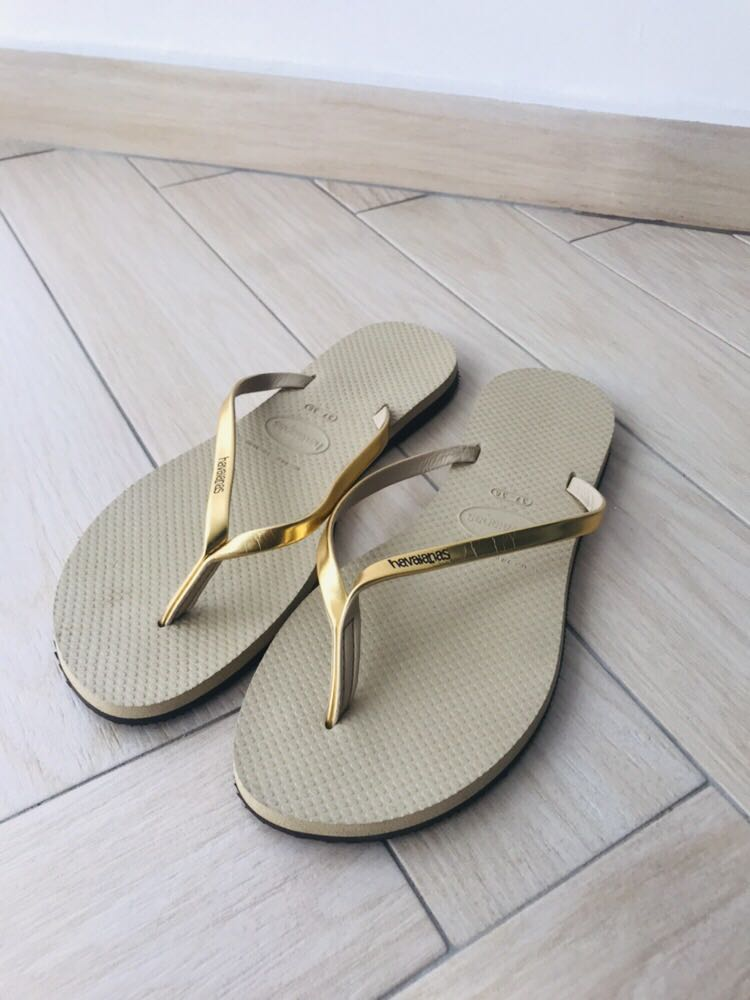 9beaec00bd51aa Havaianas Slippers in Light Tan and Gold