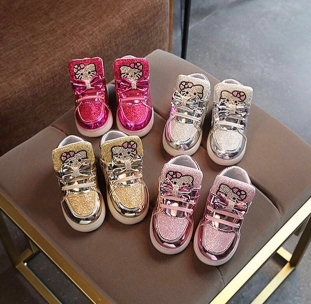 a8d5f3d9a Hello Kitty Baby Girls Sneakers Shoes Sport Shoes LED Light Strap On Velcro  Comfortable Rose Gold Silver Pink, Babies & Kids, Girls' Apparel, ...