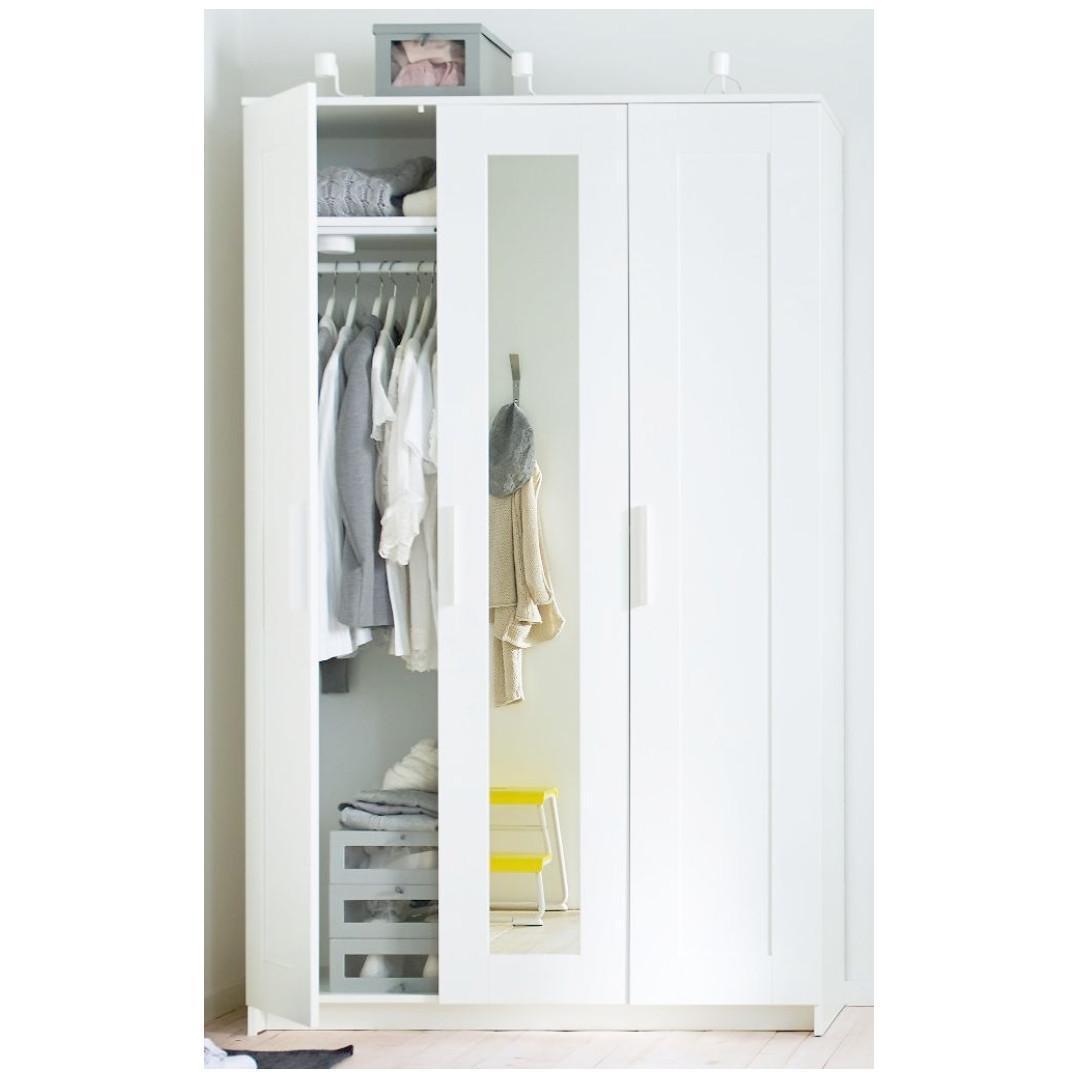IKEA BRIMNES Wardrobe 3-Doors, White, Furniture, Others on