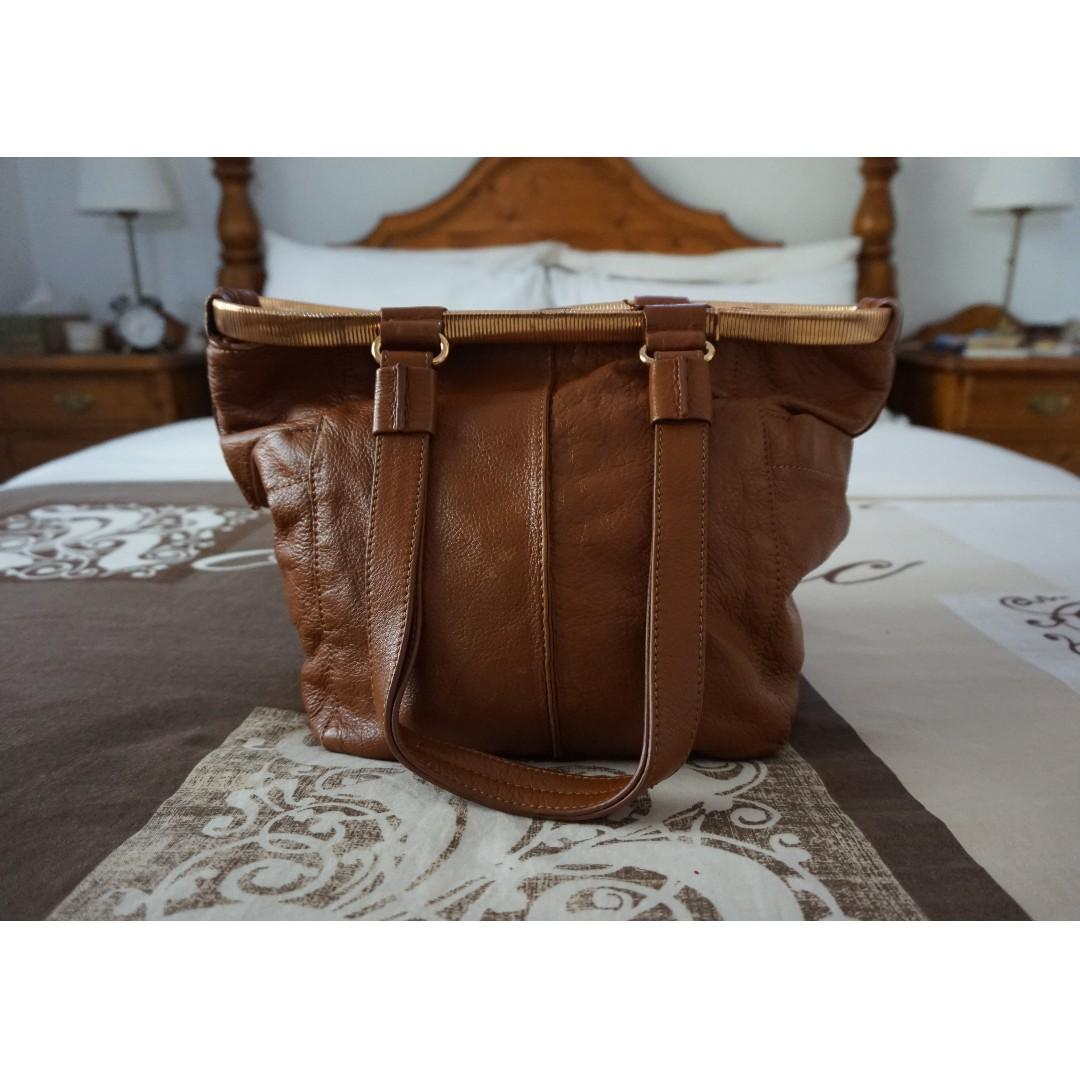 Jimmy Choo Tan Genuine Leather Bag w/ Rose Gold Hardware RRP $350.00