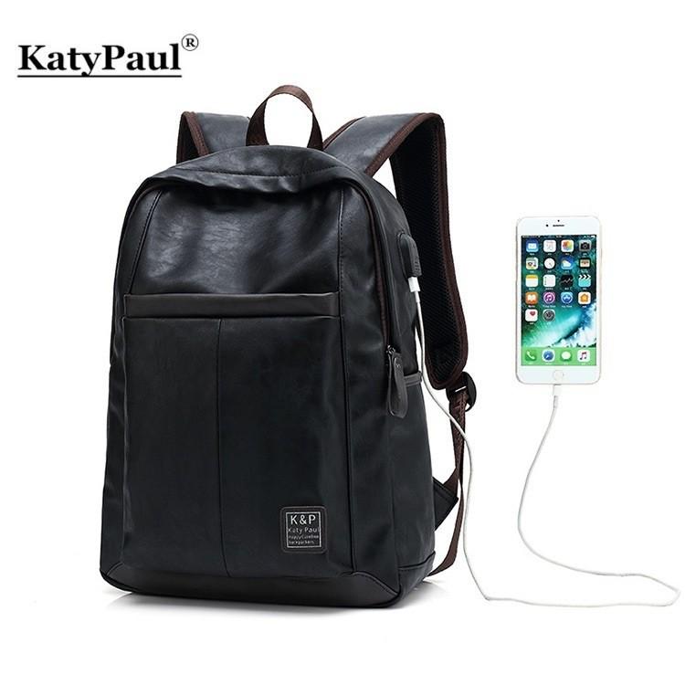 42c0eee67e Katy Paul Black leather Bagpack Waterproof Laptop Backpack with ...