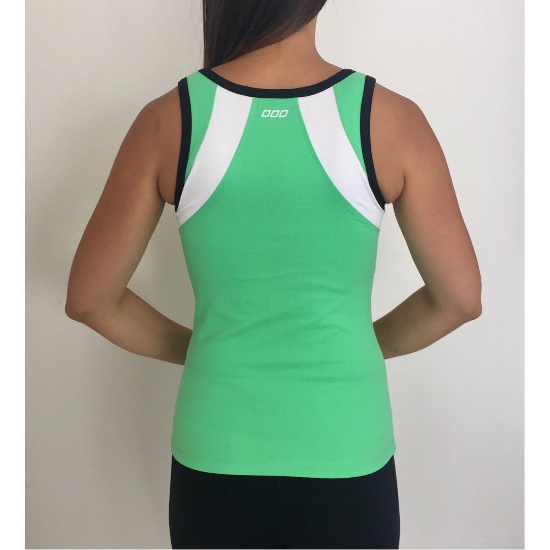LORNA JANE ACTIVE Green White Fitted Stretch Activewear Tank Size S 8-10 AS NEW
