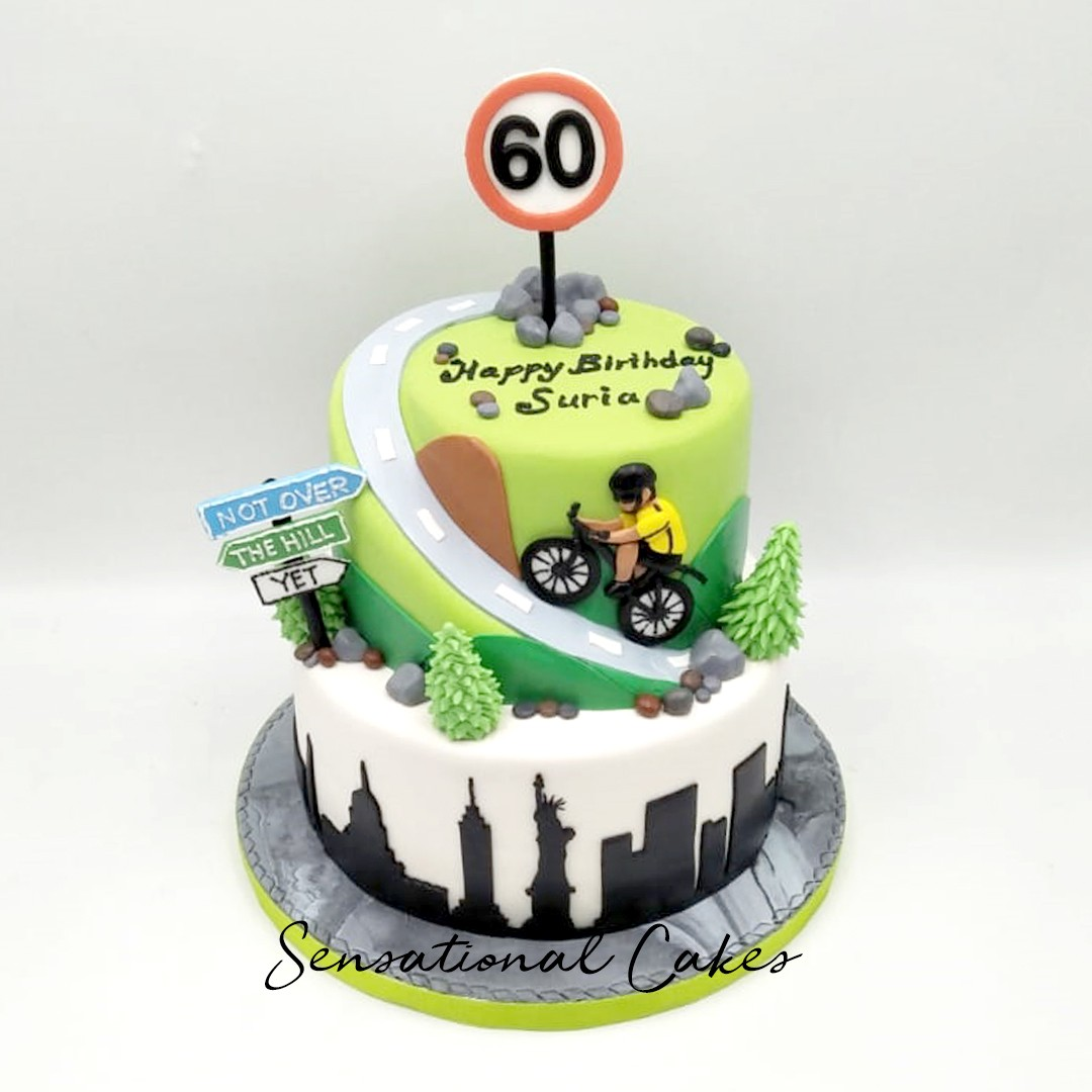 Mountain Hill Biker 60th Birthday Theme Design Customized Cake