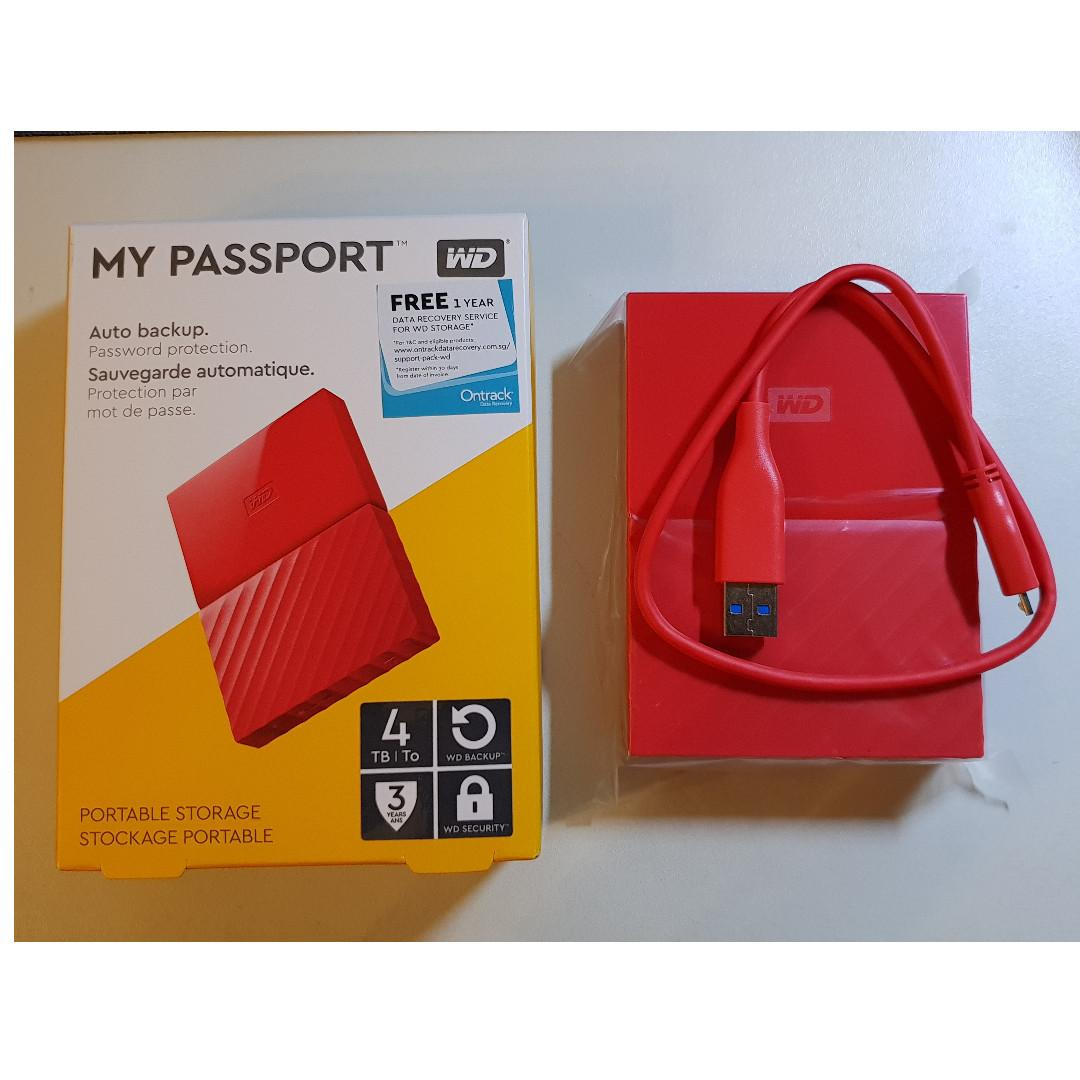 BRAND NEW WD My Passport 4TB RED (3 years warranty)