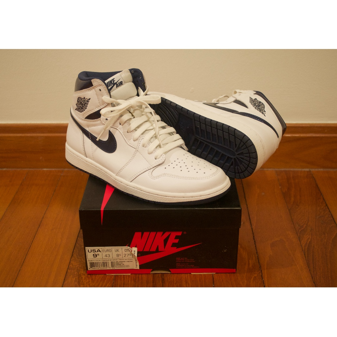 74b40cfd1a91d Nike Air Jordan 1 I WHITE METALLIC NAVY 9.5 bred shattered off white ...