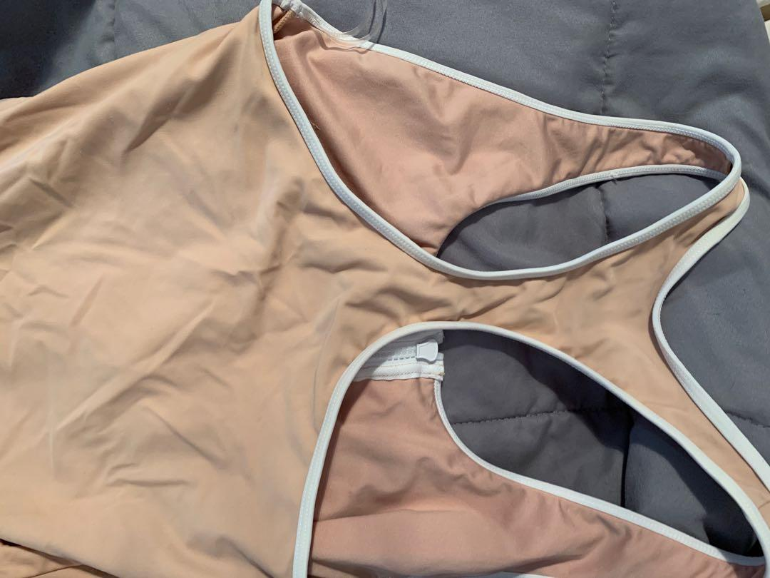 Nude pink/ white racer back one piece swim suit 10-12