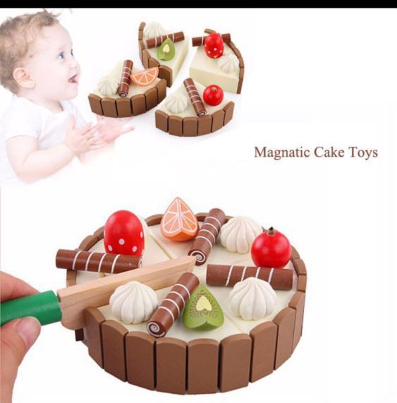 Po Brand New Pretend Play Wooden Magnetic Birthday Cake
