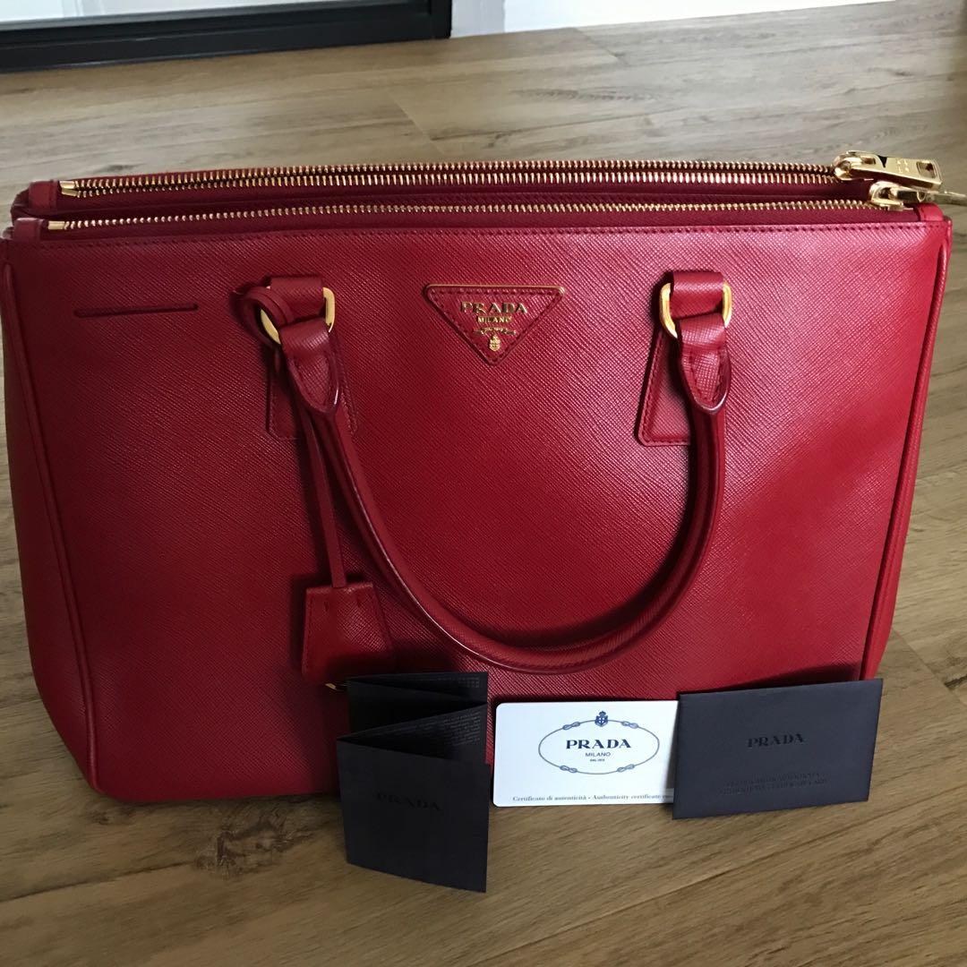 4810ecf35ceb3b Prada Saffiano Lux Fuoco, Women's Fashion, Bags & Wallets, Handbags ...