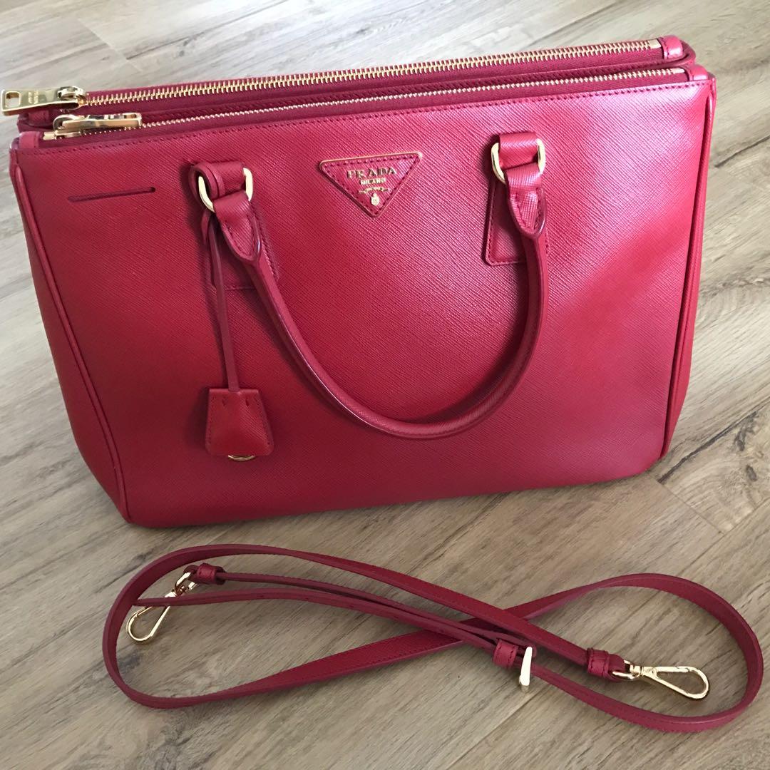 b399a63c3e22d5 Prada Saffiano Lux Fuoco, Women's Fashion, Bags & Wallets, Handbags on  Carousell