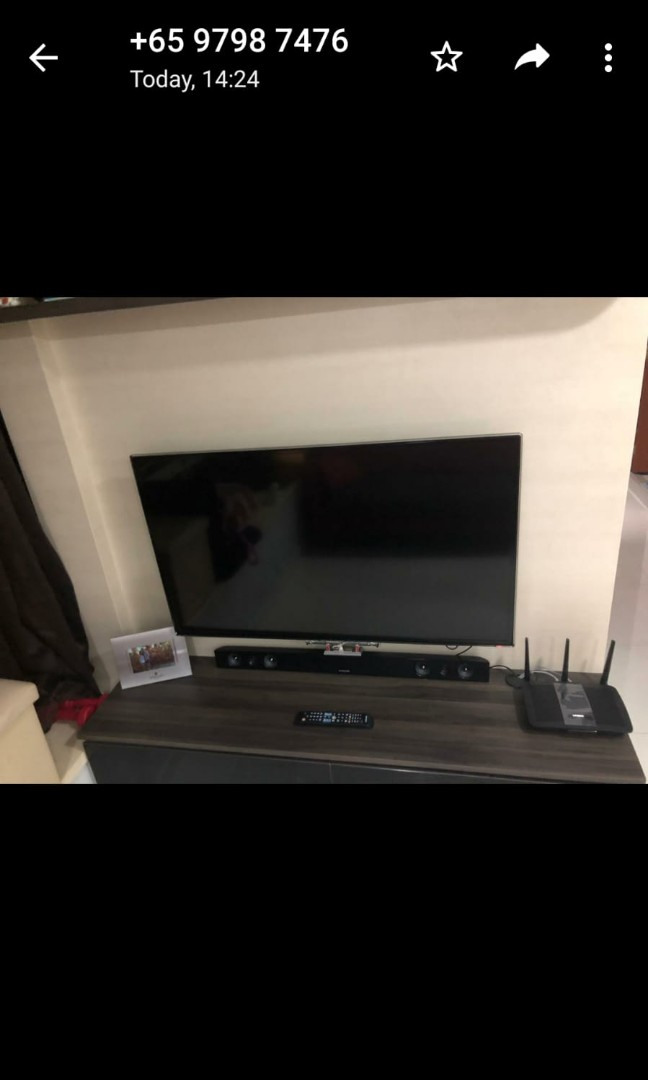 Smart Samsung TV, Sound Bar and Blue Ray DVD player