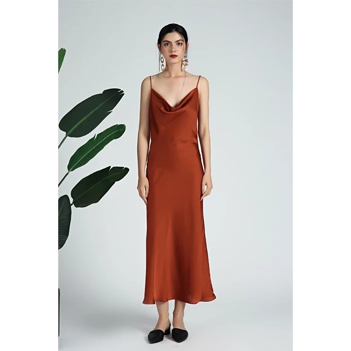 2520a35deed2 Satin cowl neck midi dress in rust, Women's Fashion, Clothes ...