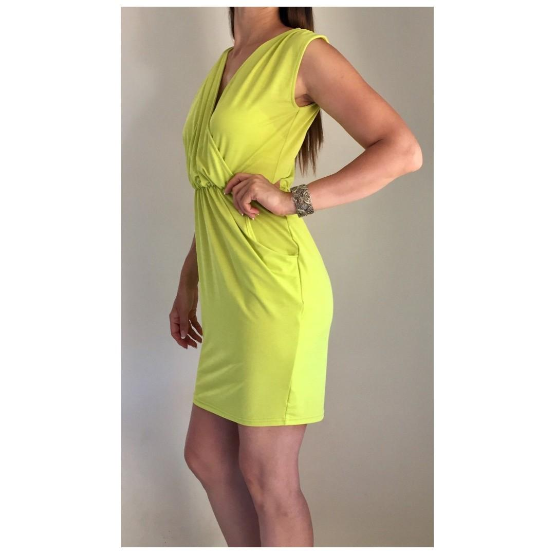 SHEIKE Lime Green Grecian Style Drape Stretch Dress Sz 6-8
