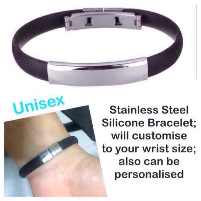 ca4ec18d50bab Stainless Steel Silicone Bracelet (Wristband) [unisex strap customise to  wrist size (max 19mm wrist), matching couple wear; uncle anthony] FOR MORE  ...