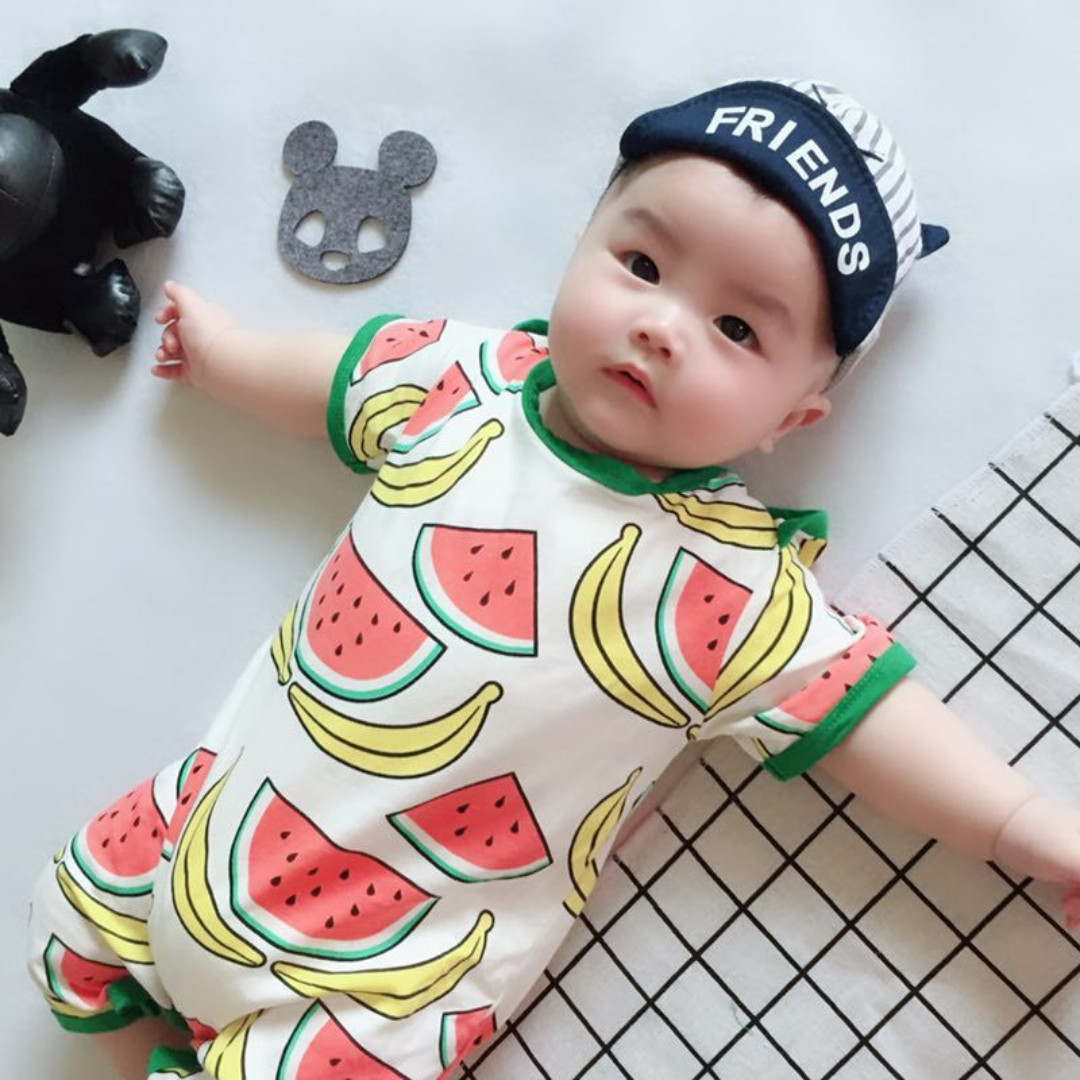 a13eabecd413 ✓️STOCK - FRUIT THEME WATERMELON BANANA SLEEVES OVERALL PANTS ...