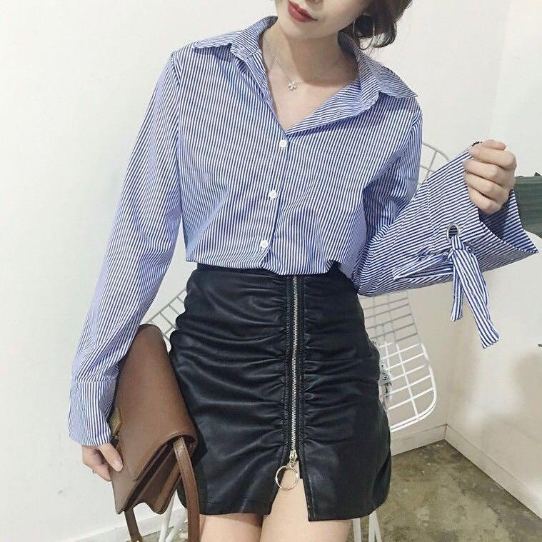 Striped long sleeve blouse with tie-cuffs and eyelets