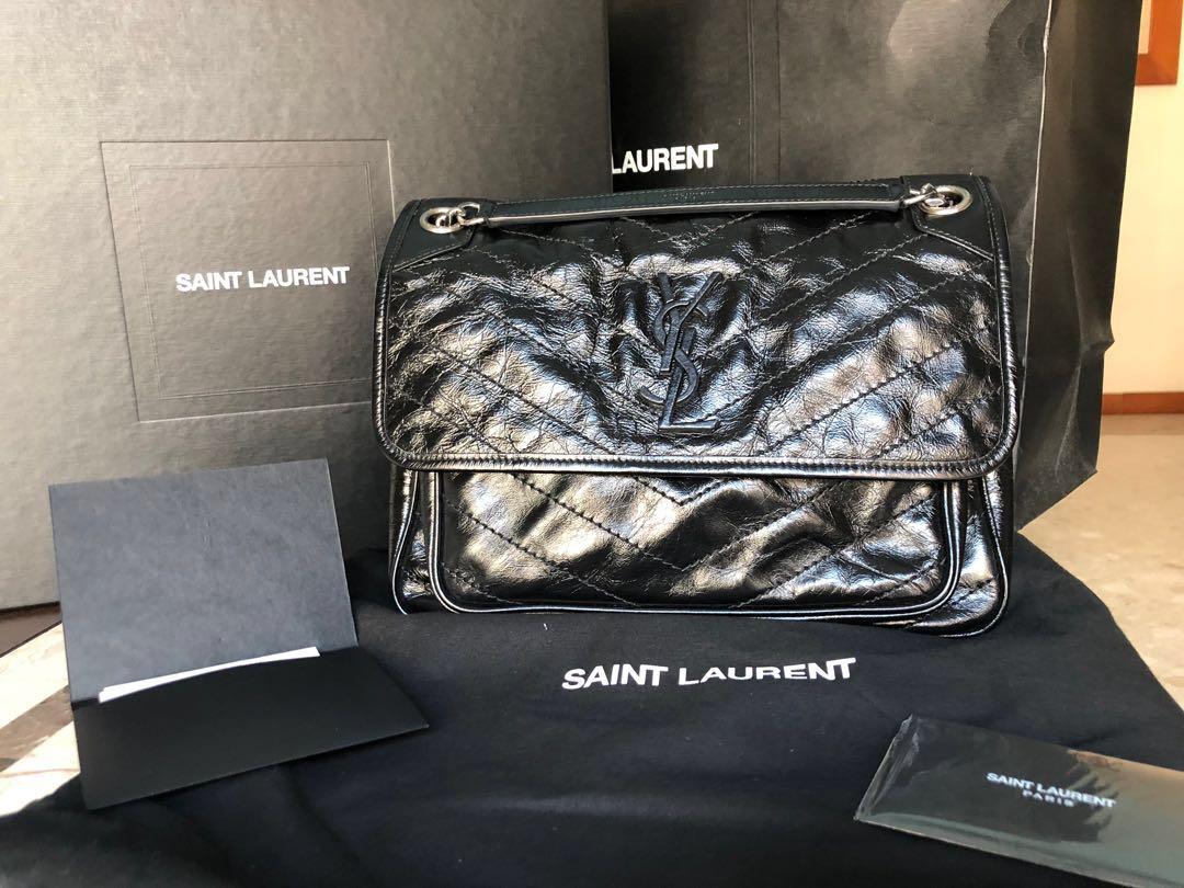 YSL Niki Medium Bag In Crinkled Vintage Leather 8b2b146c3b326