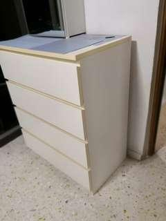 Chest of 4 drawers, white